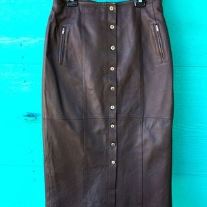 100% BROWN LEATHER MAXI SKIRT WITH 4 ZIPPER POCKETS